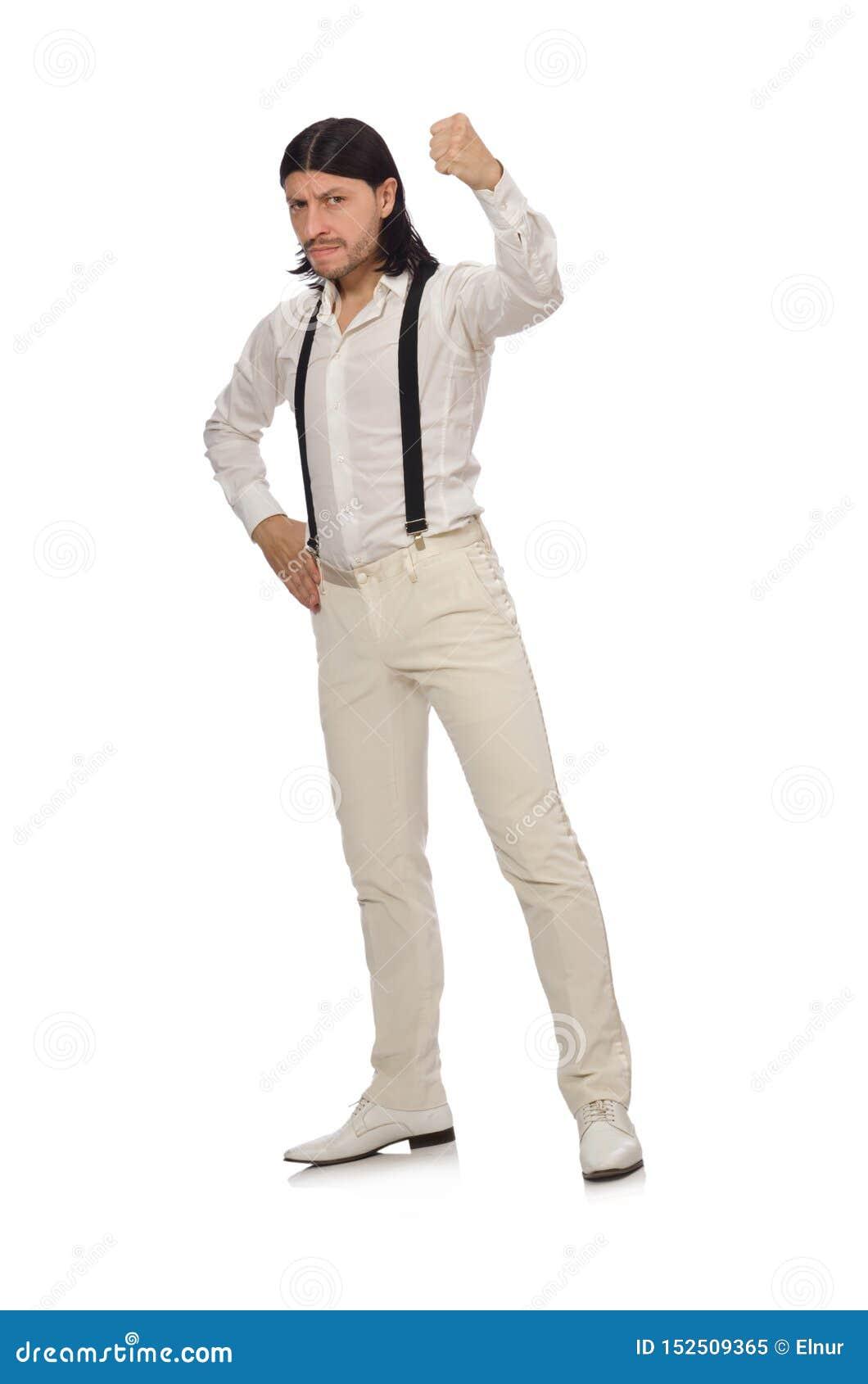 Uomo nel concetto divertente isolato su bianco