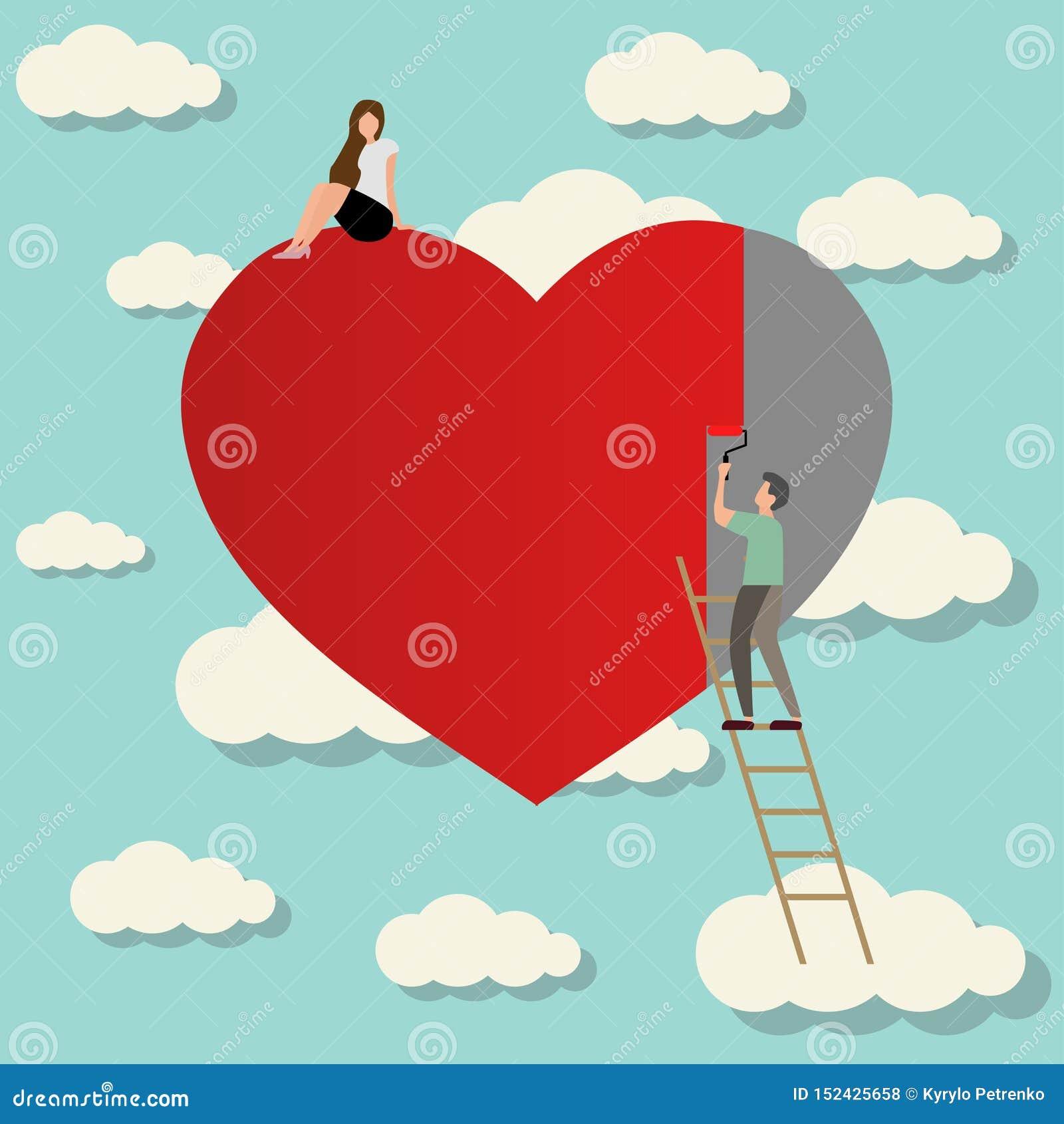 Uomo nell amore con il cuore della pittura della ragazza