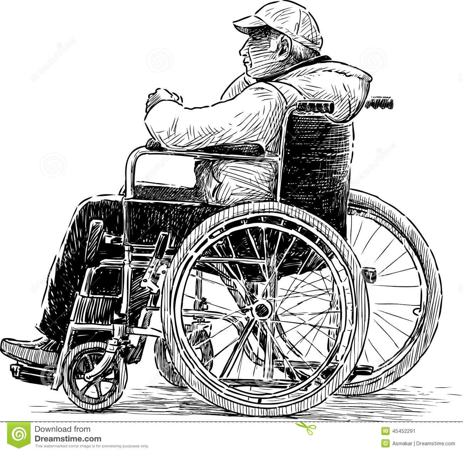Uomo In Sedia A Rotelle Illustrazione Vettoriale