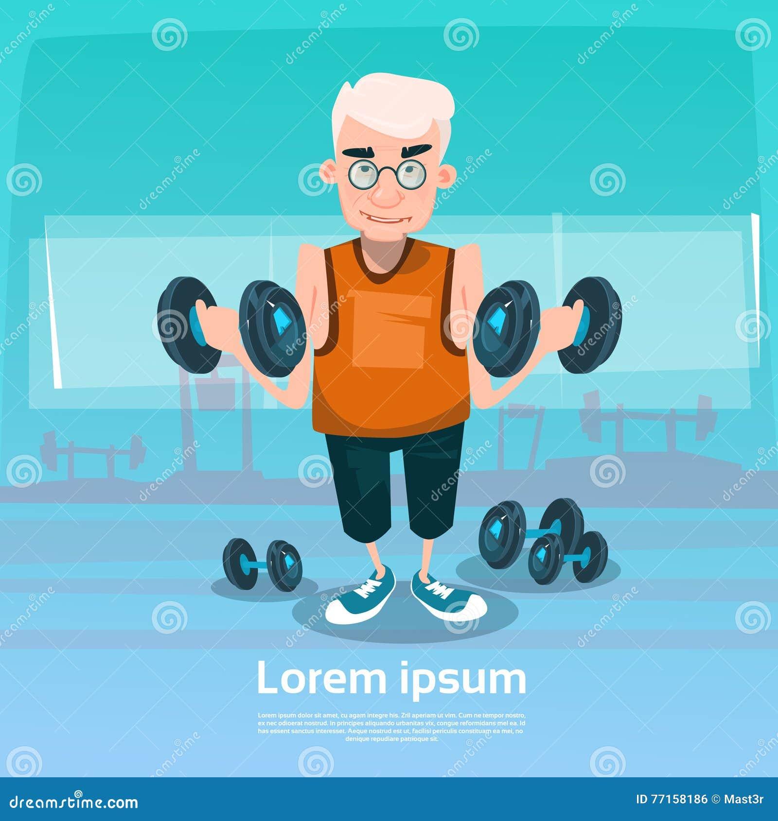 Uomo senior nell allenamento di sollevamento di esercizio del peso della palestra