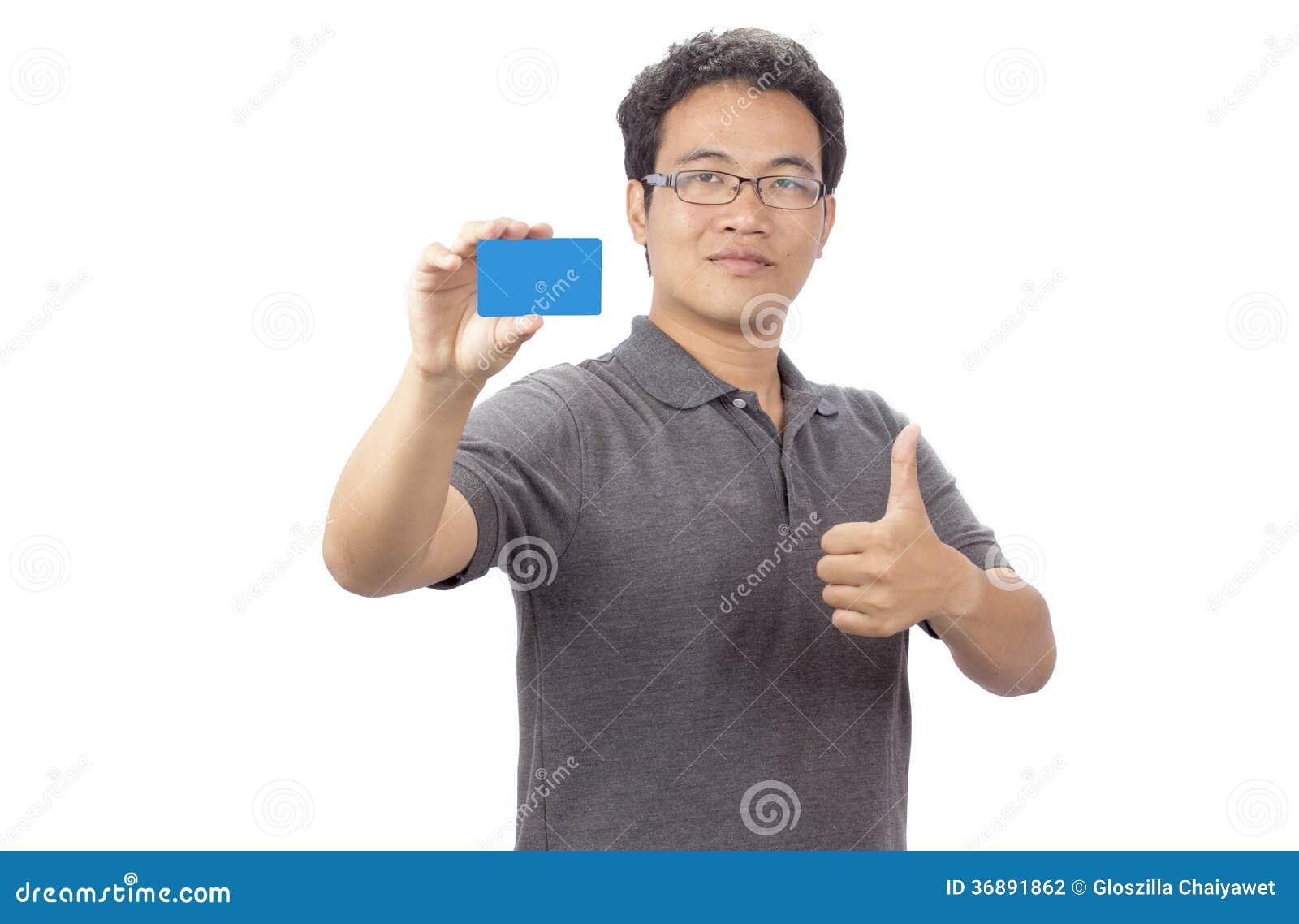Download Uomo Sorridente Felice Di Affari Che Mostra Biglietto Da Visita In Bianco Fotografia Stock - Immagine di caucasico, allegro: 36891862