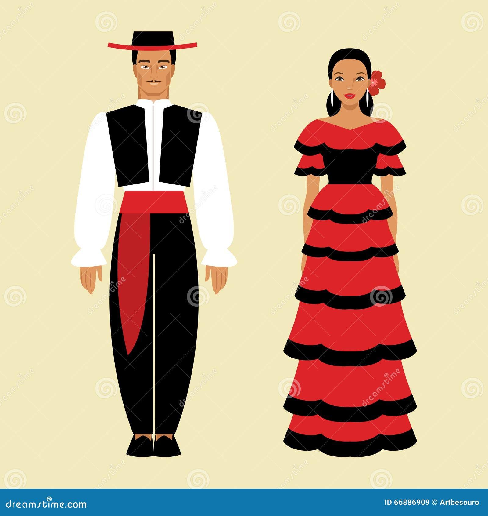 Illustrazione In Una Uomo Costume Nazionale Spagnolo Donna E 0wFF4xTqp