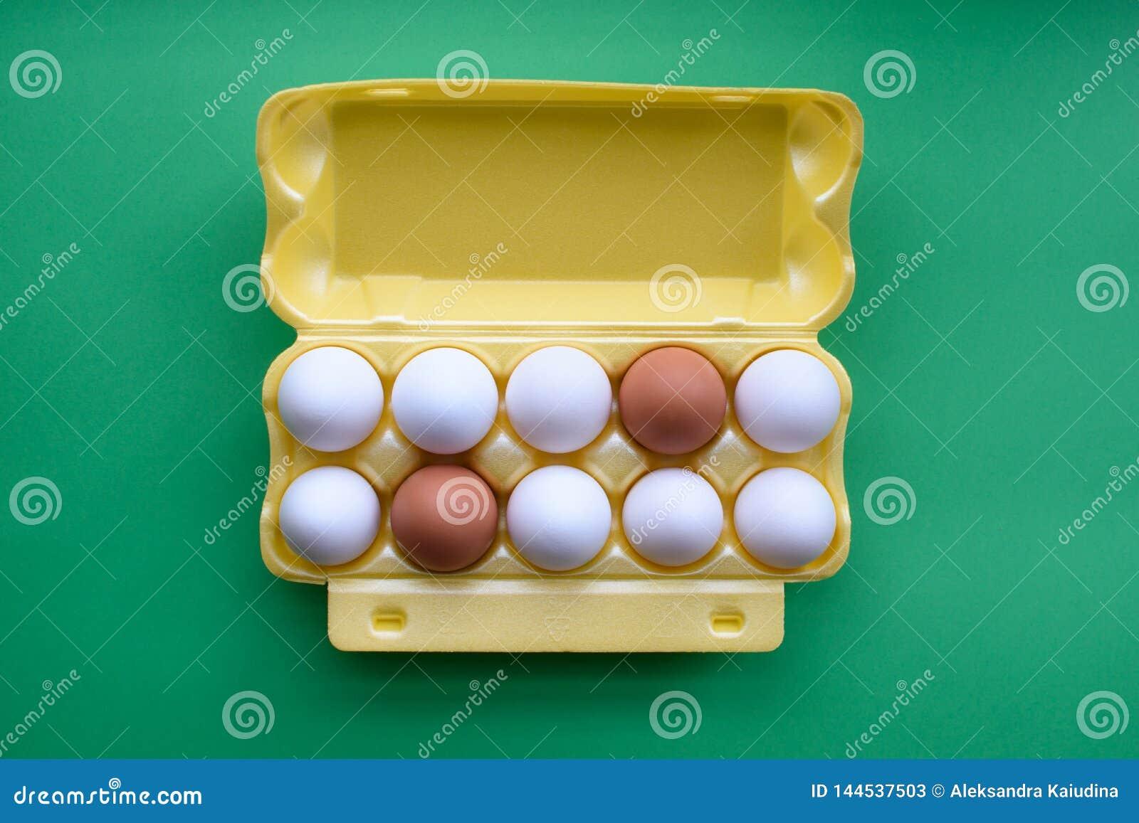 Uova in cartone sui precedenti verdi