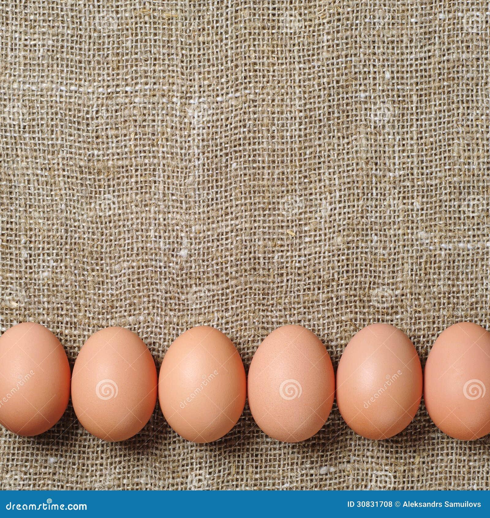 Uova del pollo su tela di sacco