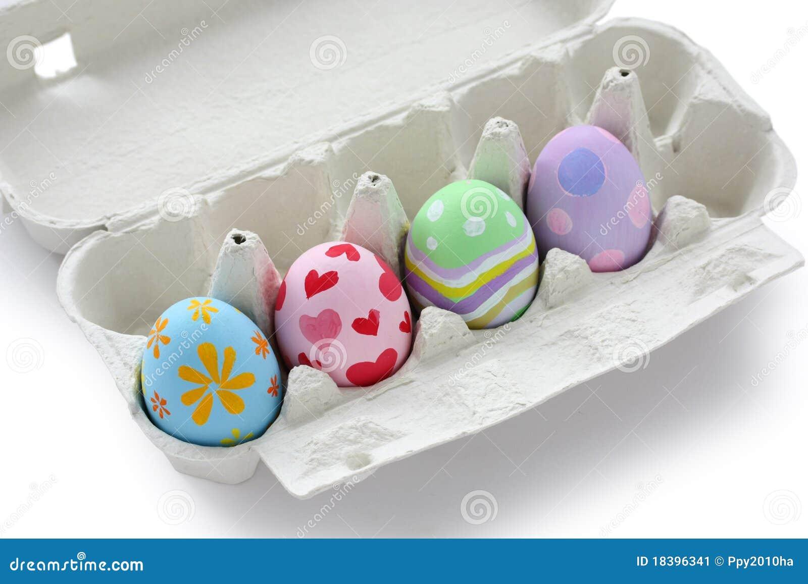 Uova di pasqua dipinte a mano in scatola delle uova - Uova di pasqua decorati a mano ...