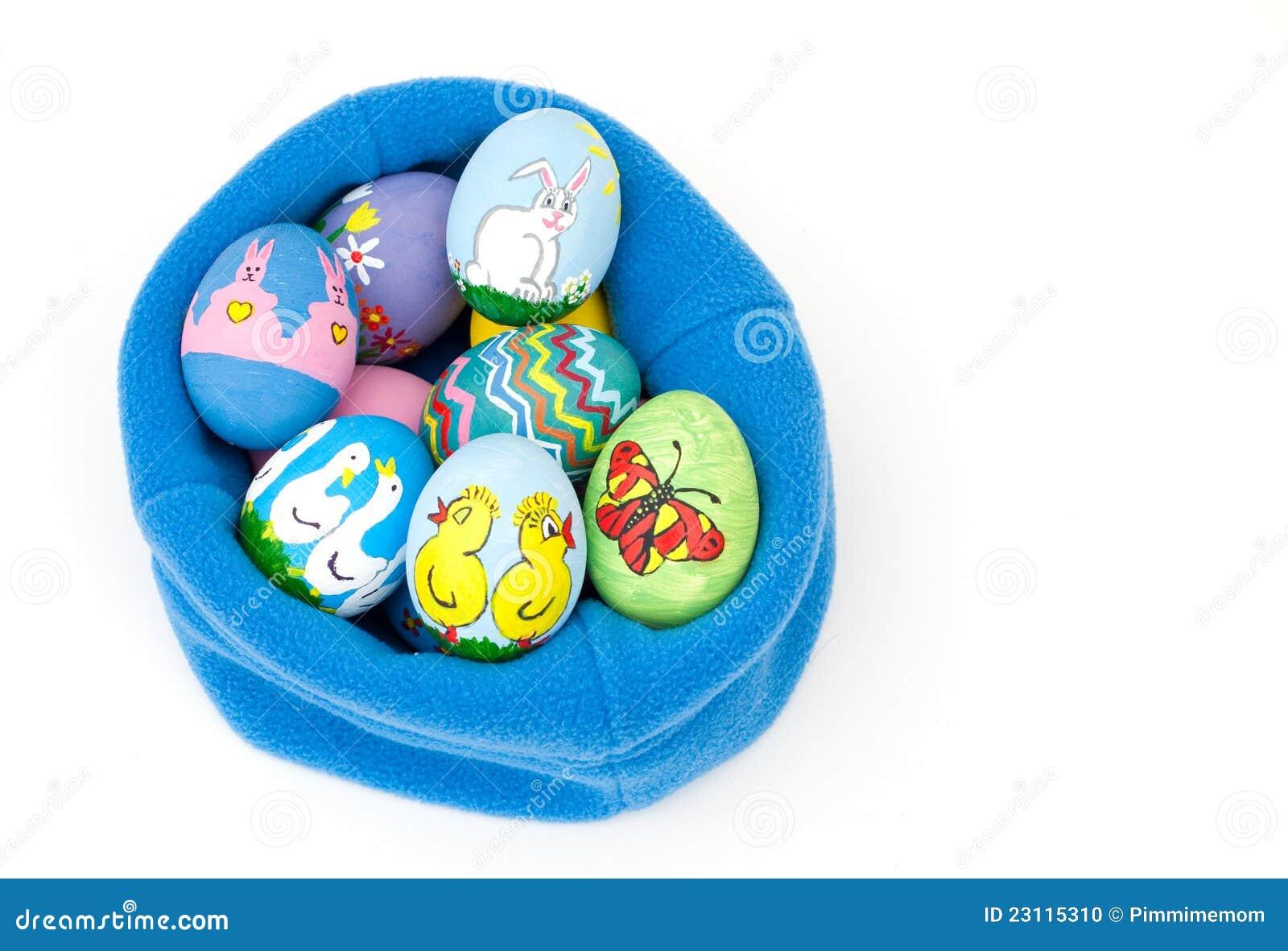 Uova di pasqua dipinte a mano variopinte fotografia stock - Uova di pasqua decorati a mano ...