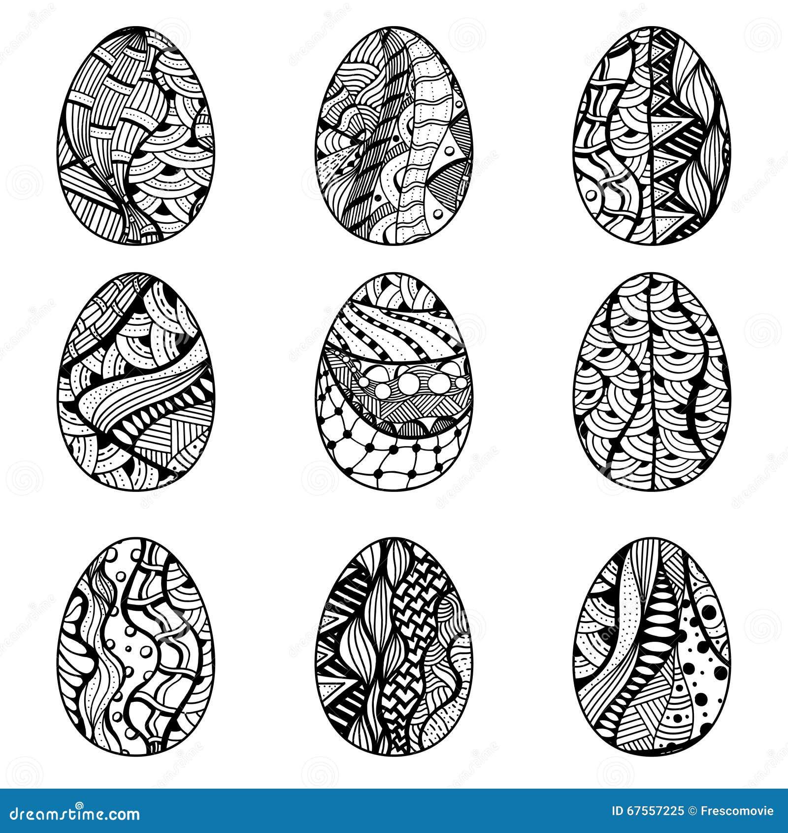 Uova di pasqua disegnate a mano illustrazione vettoriale - Uova di pasqua decorati a mano ...