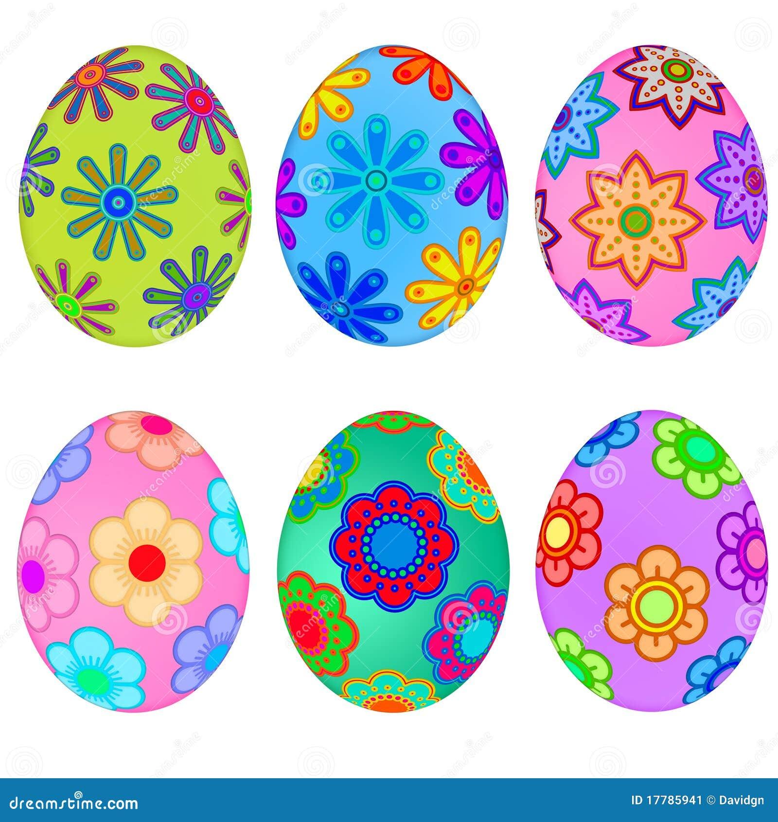 Estremamente Uova Di Pasqua Variopinte Con Il Disegno Floreale Illustrazione di  OX38