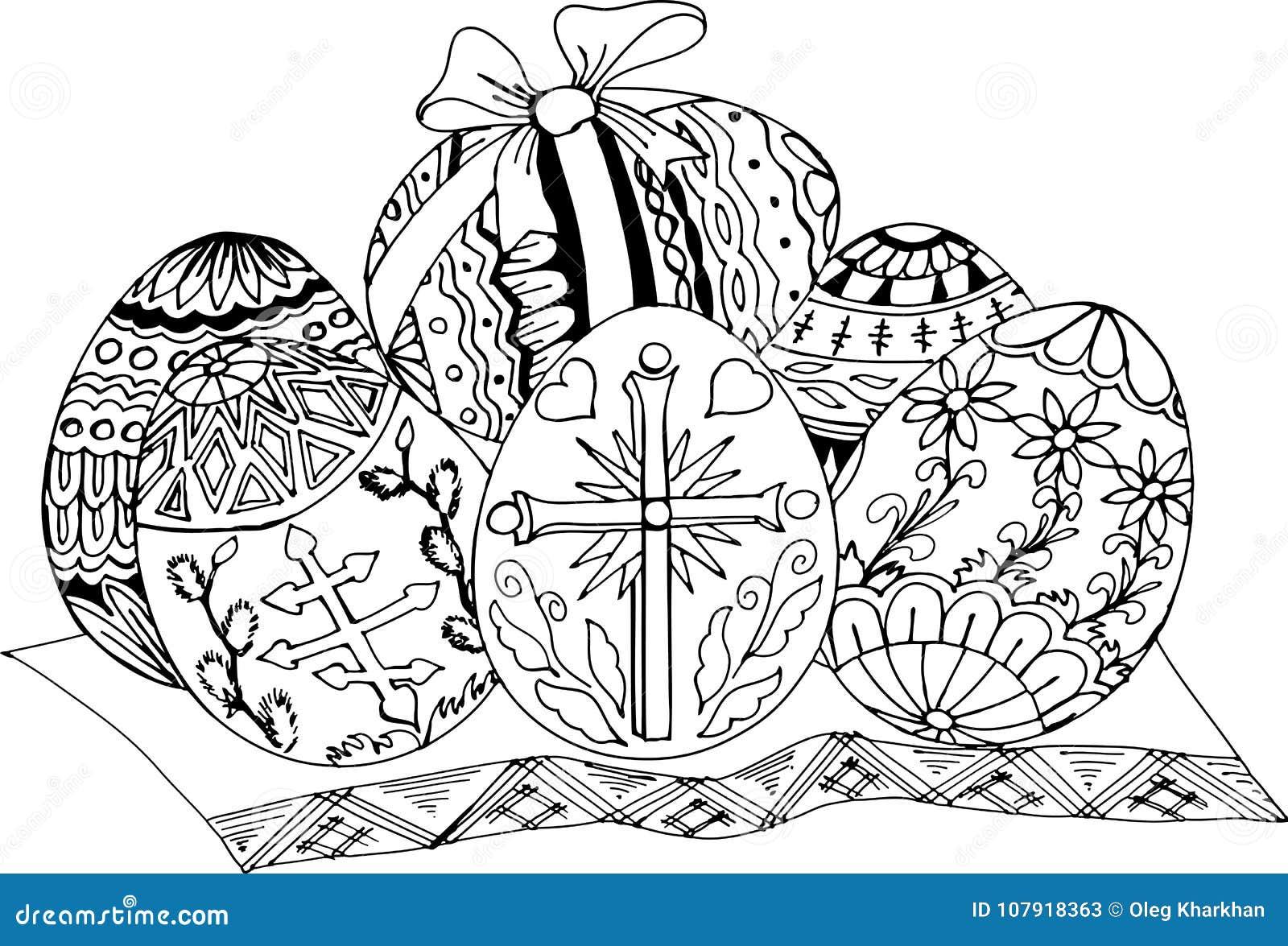 Uova Di Pasqua Verniciate Modelli Disegnati A Mano Per Colorare