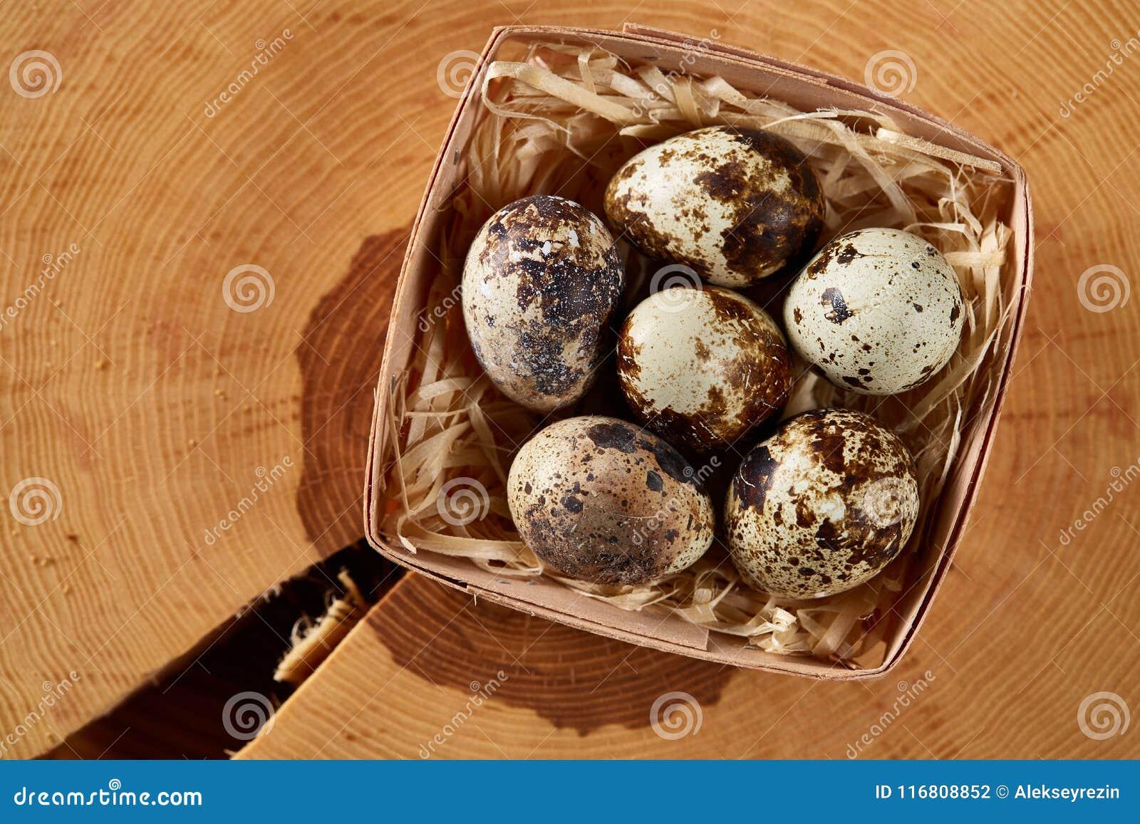 Uova di quaglia in una scatola su un ceppo rotondo, vista superiore, fuoco selettivo