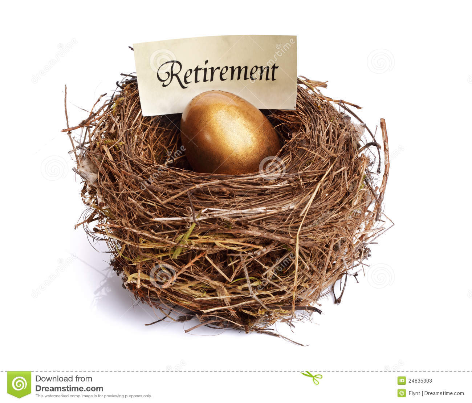 Uovo di nido dorato di risparmio di pensione