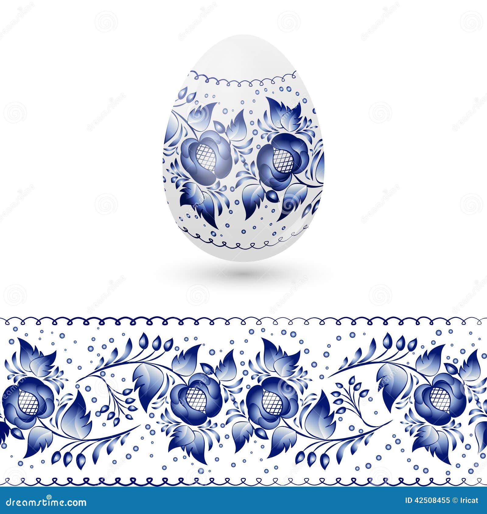 Uovo di pasqua blu gzhel stilizzato modello tradizionale - Modello di uovo stampabile gratuito ...