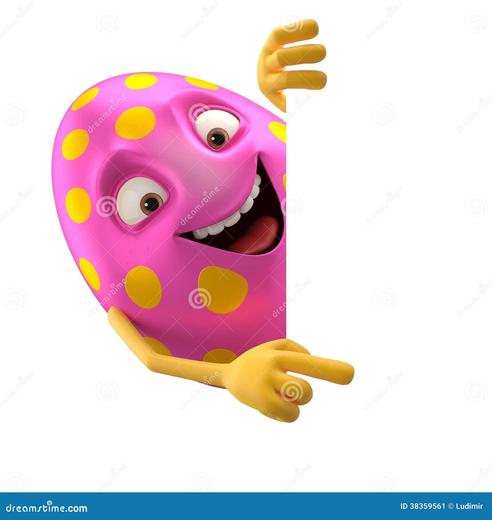 Uovo di pasqua sorridente personaggio dei cartoni animati