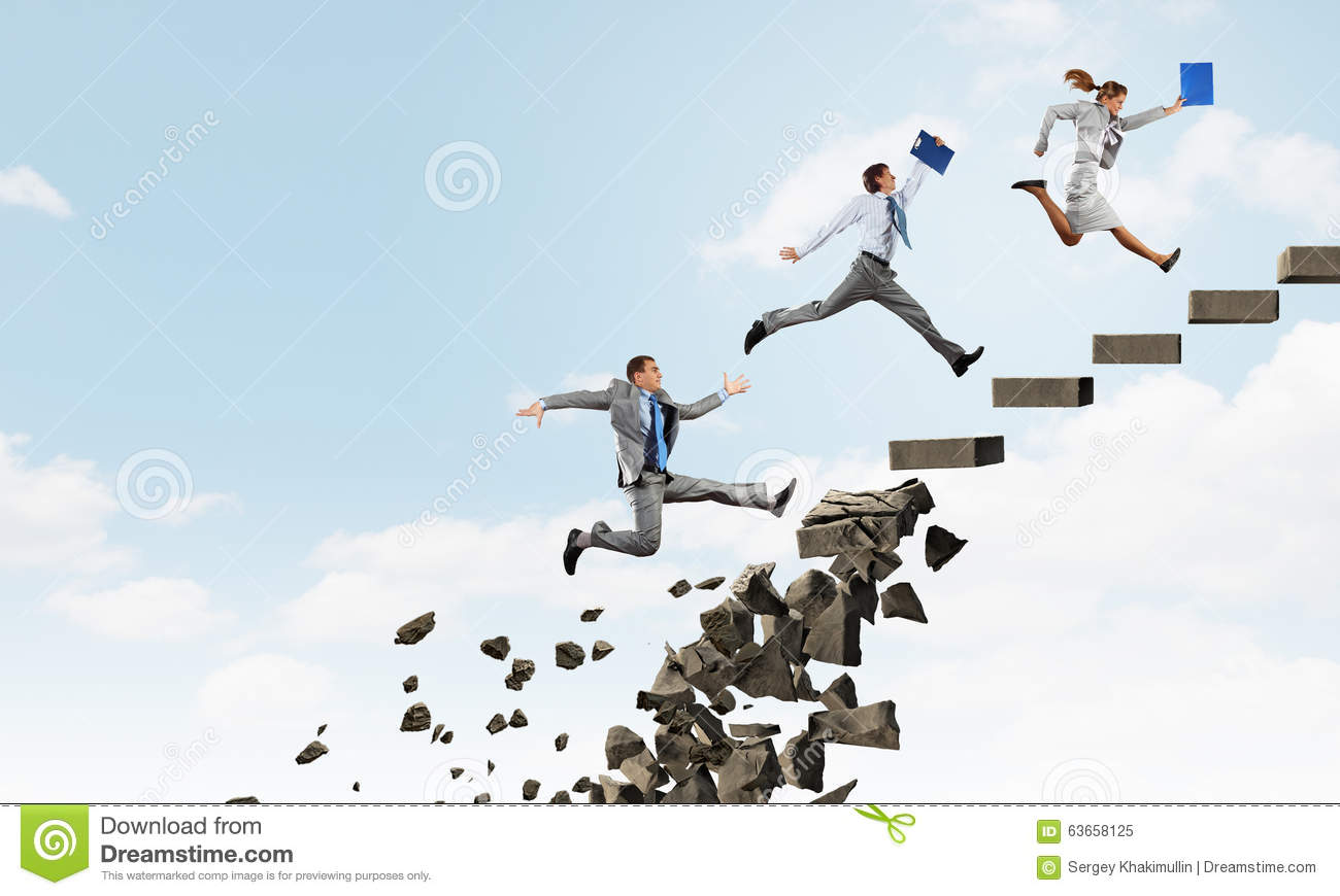 Up The Career Ladder Overcoming Challenges Stock Image
