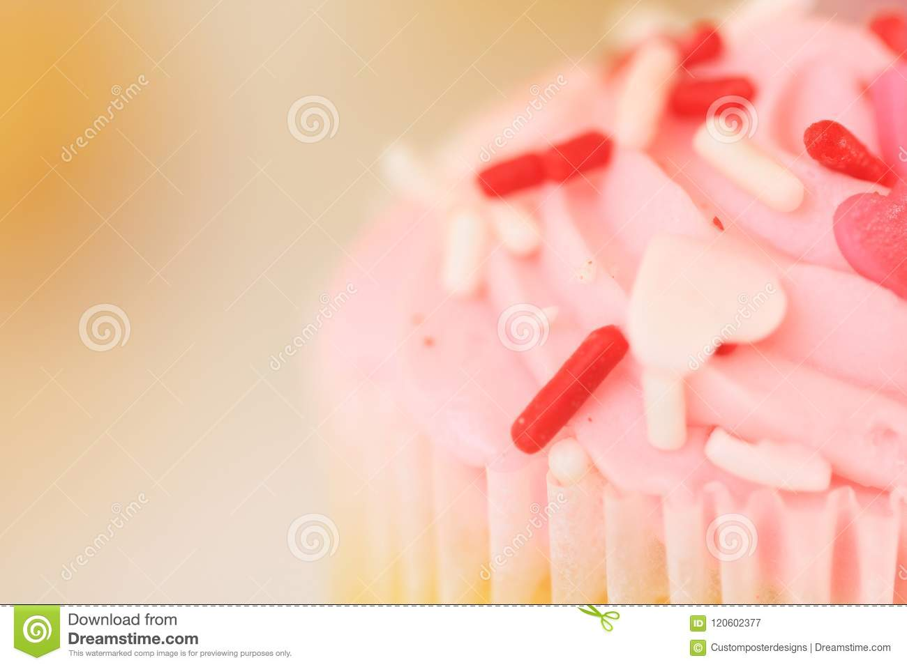 Download An Up Close Pink Frosted Cupcake. Stock Image - Image of large, good: 120602377