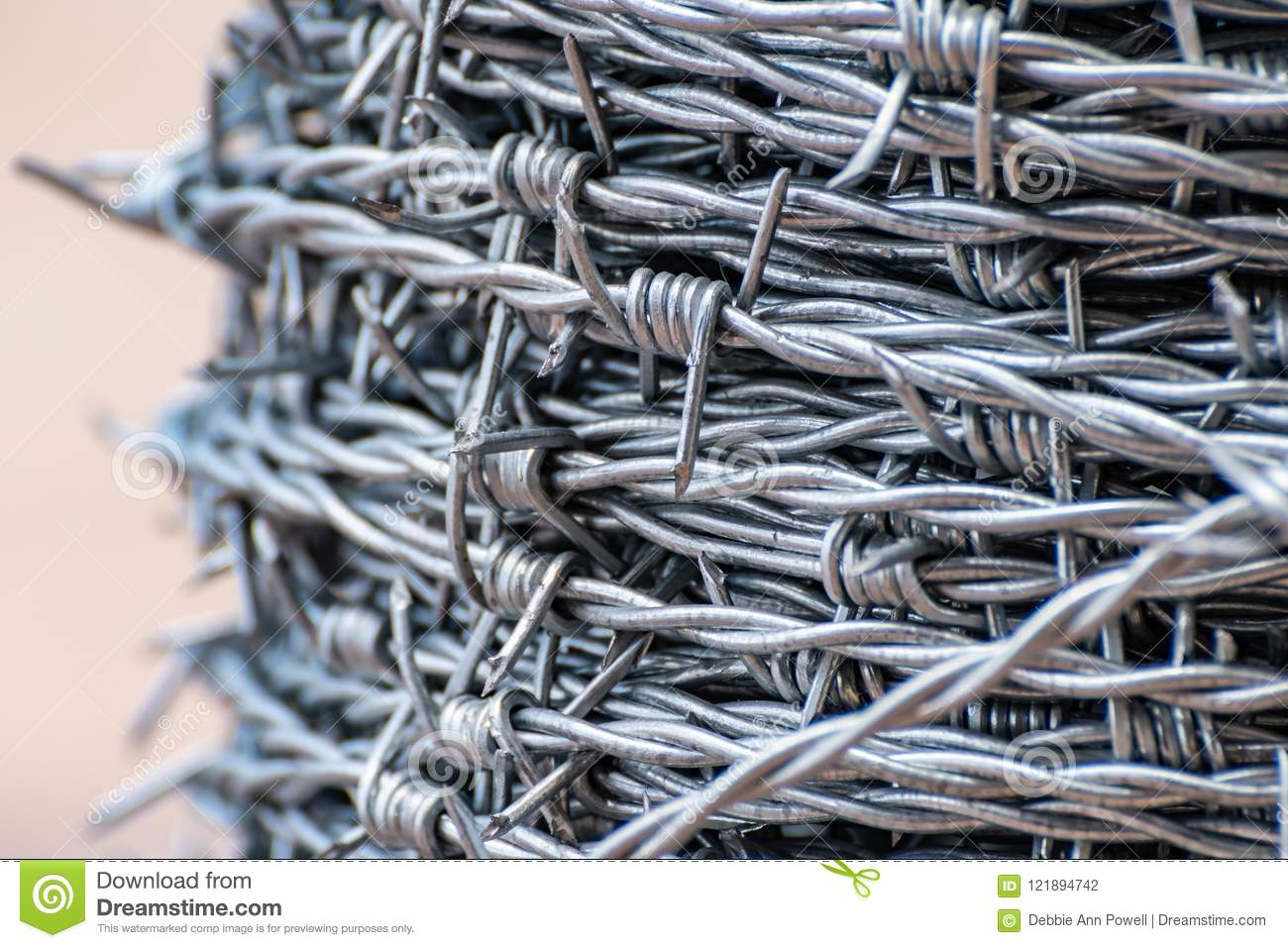 Up Close On Shiny New Barbed Wire Stock Photo - Image of protection ...