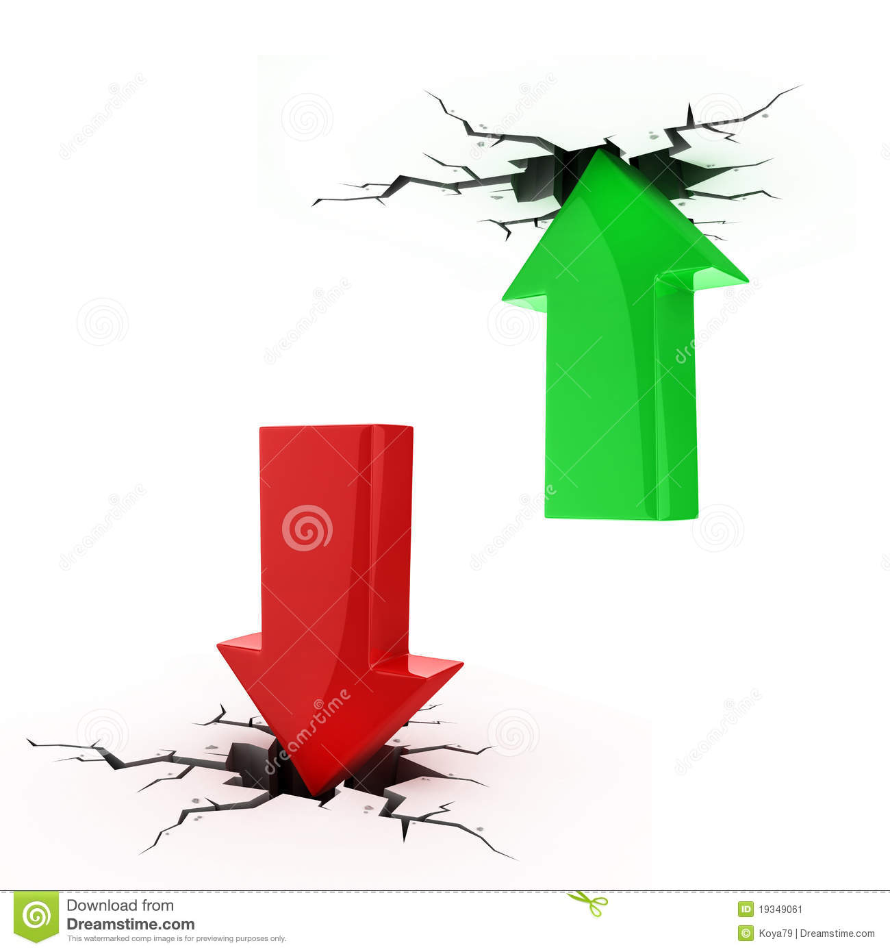 Up And Down Arrows Break Up The Floor And Ceiling Stock