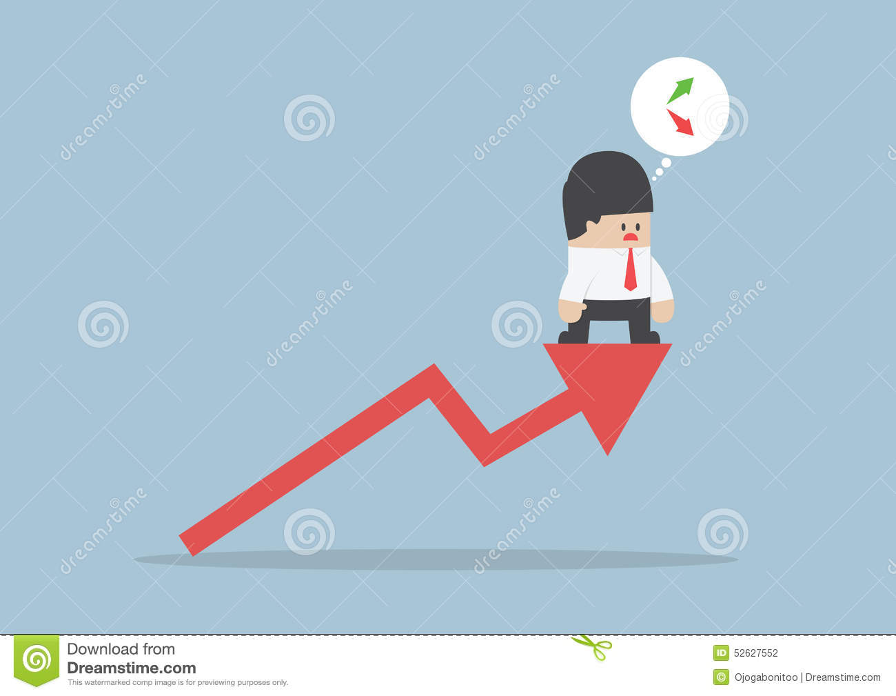 Up Or Down Businessman Confusing About Stock Market Chart Stock