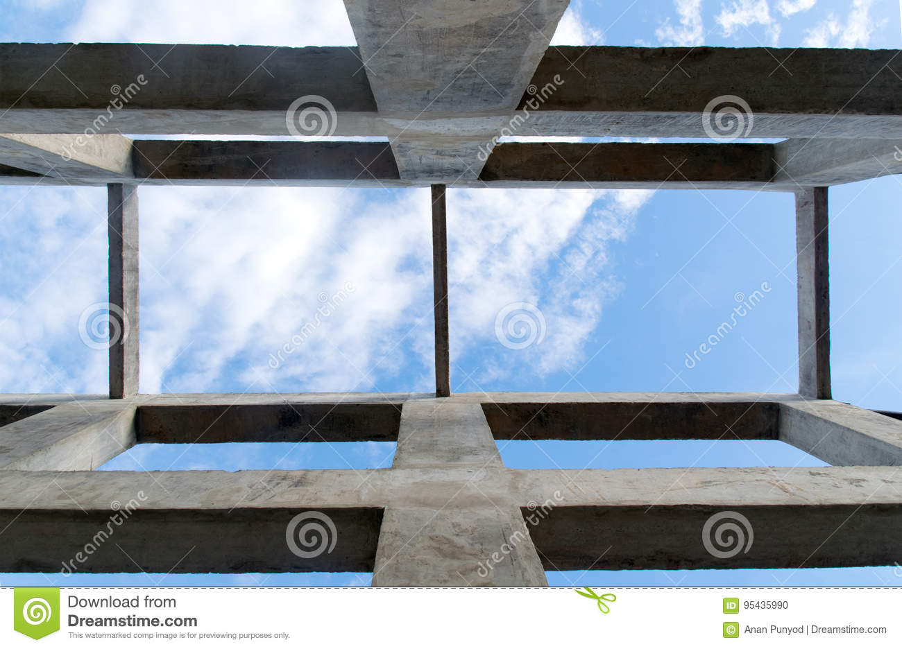 Up view Pillar and beam structure for construction abstract background