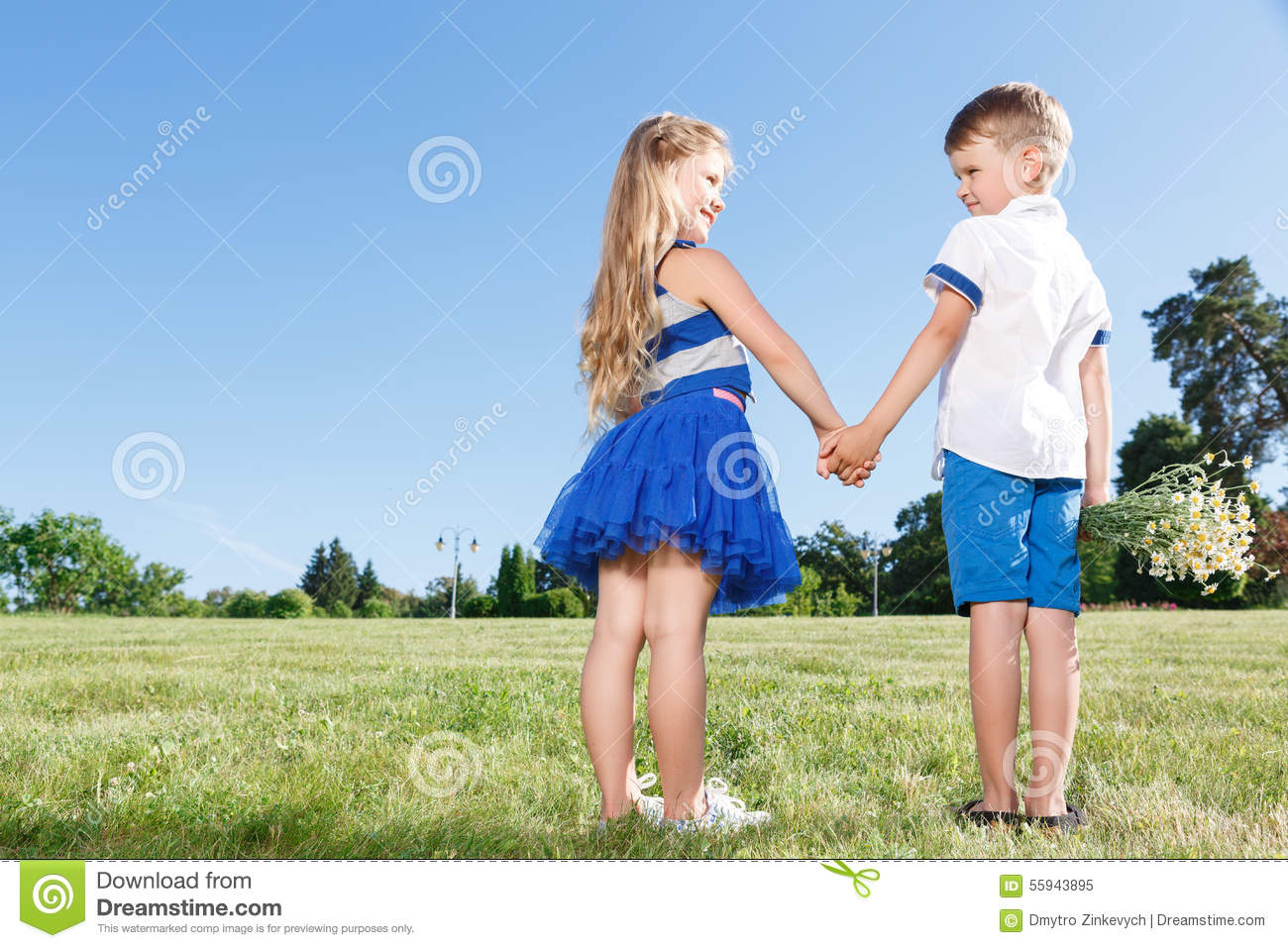 Upbeat Little Kids Holding Theur Hands Together Stock ...