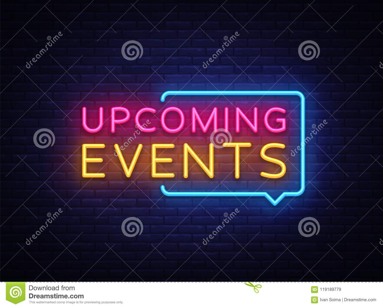 upcoming events neon signs vector upcoming events design template