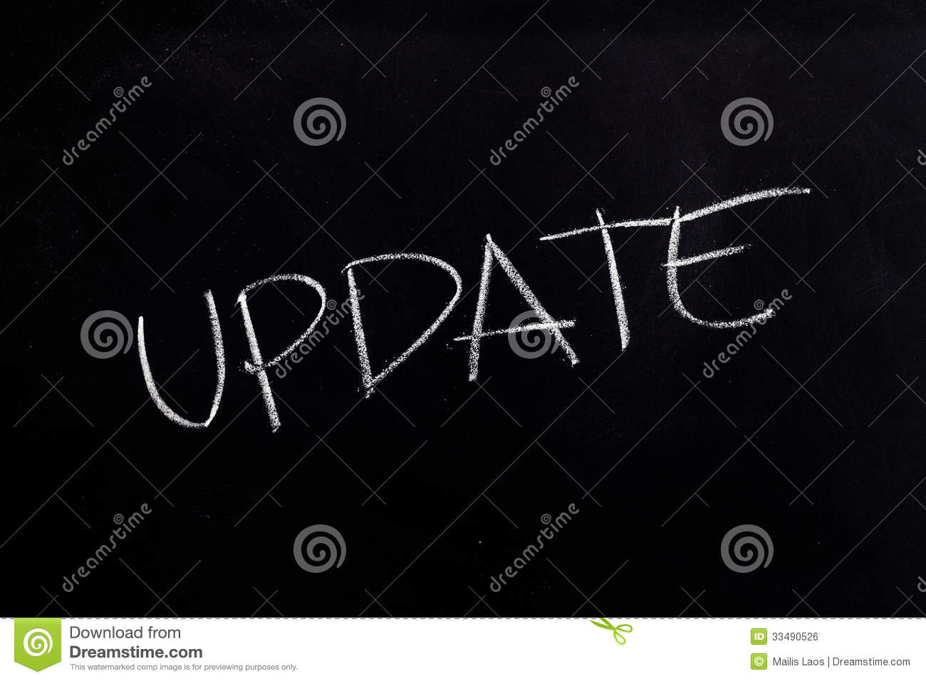 Download Update Text on Blackboard stock photo. Image of computer - 33490526