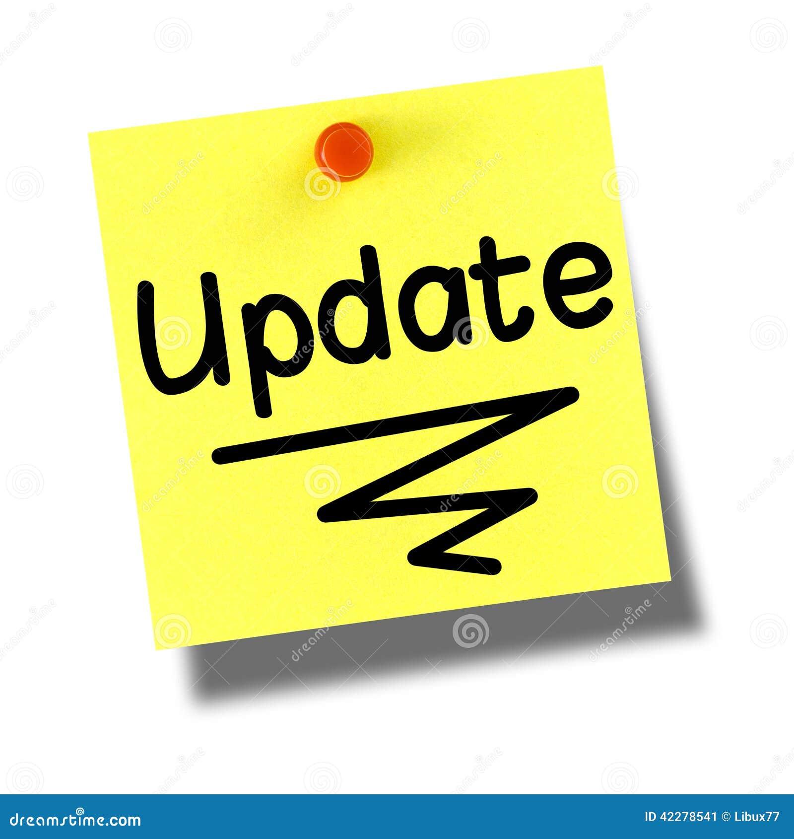 Update Yellow Post-it Pushpin White Stock Photo