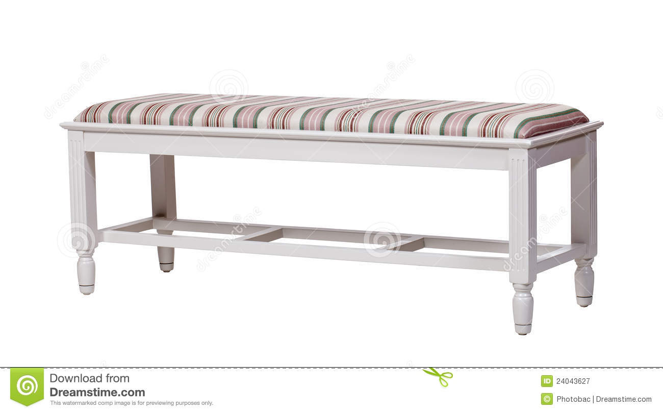 Upholstered Wood Bench Isolated Over White Stock Image Image 24043627