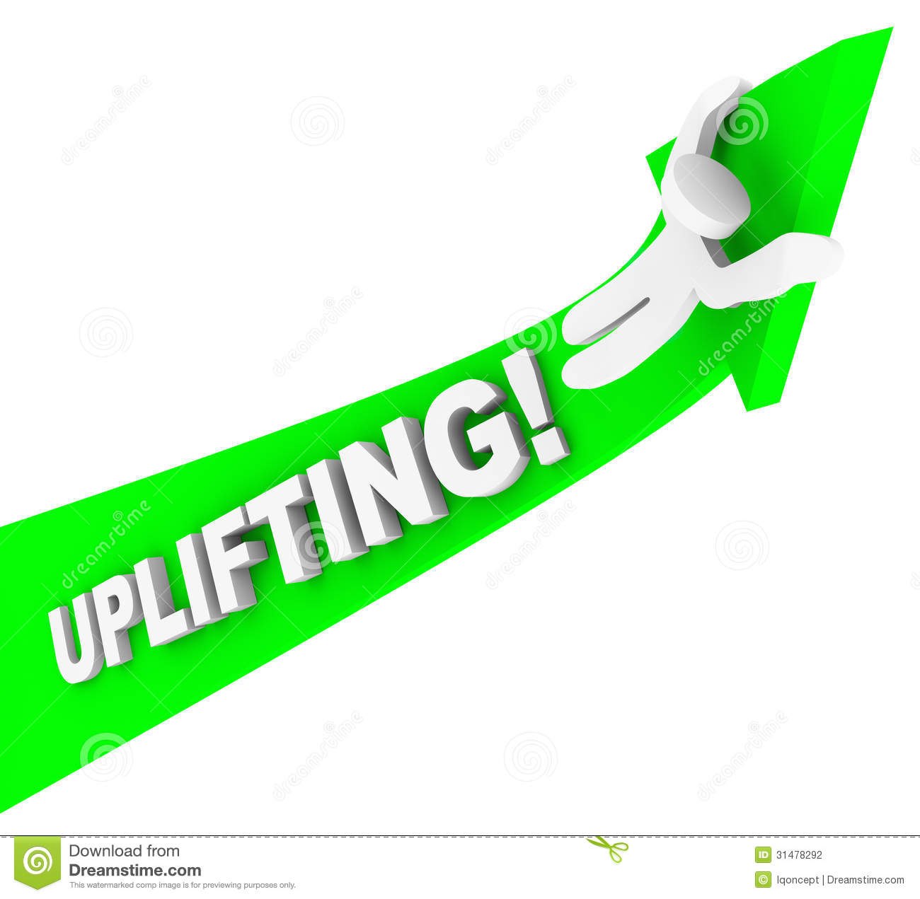 Uplifting Word Person Riding Arrow Achiving Higher Success Stock ...