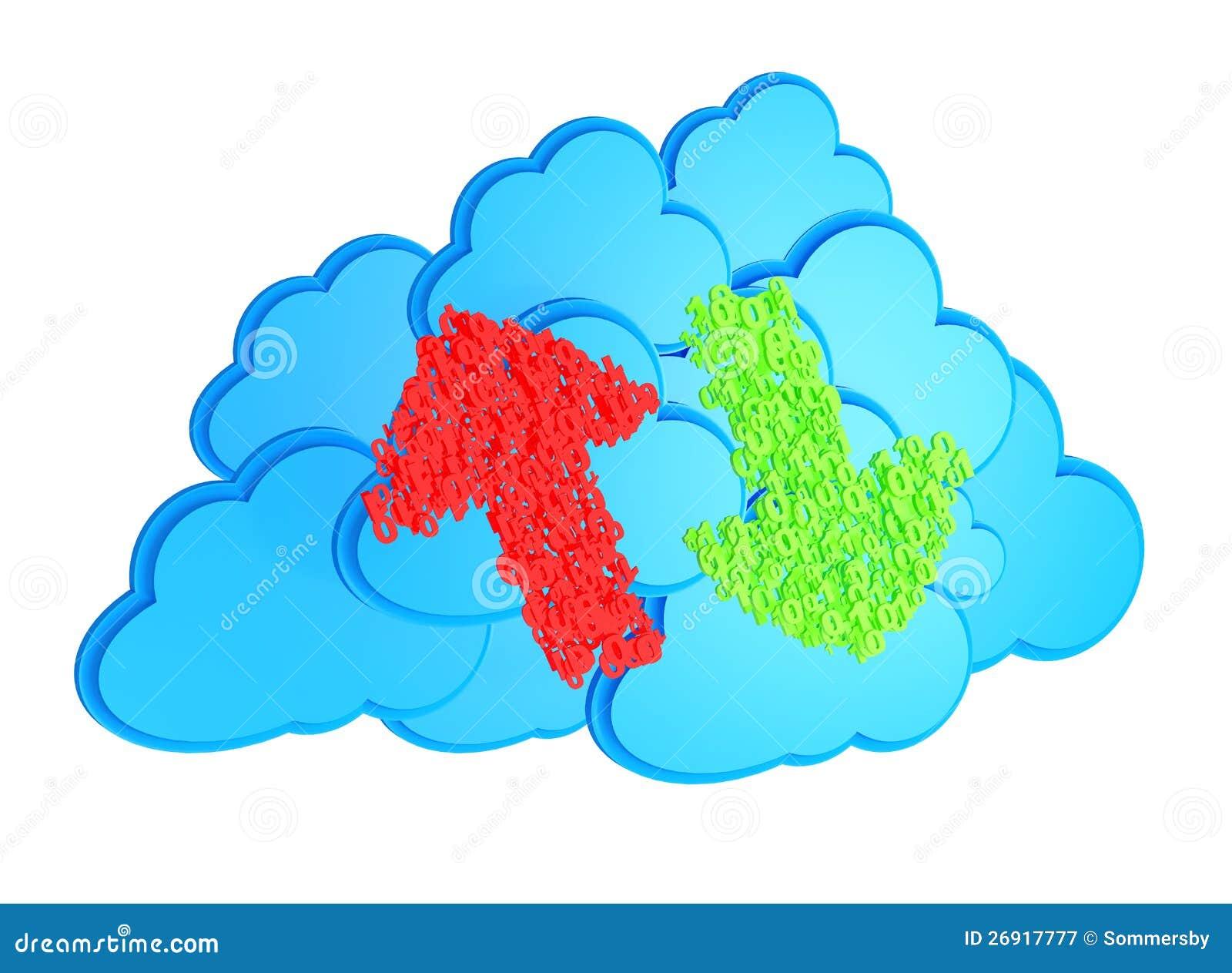 Upload en download pijlen vóór blauwe wolken