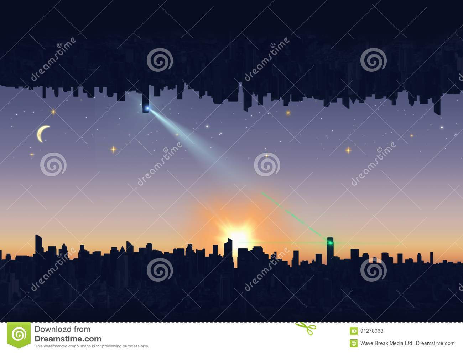 Upp för sida stad ner den lätta dagen redigerar natt till vektorn