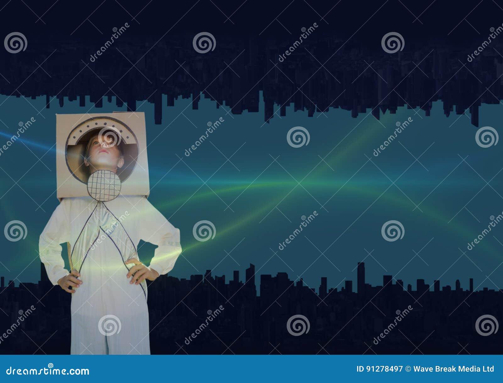 Upp för sida stad ner göra grön och slösa ljus i himlen med den astronautic pojken