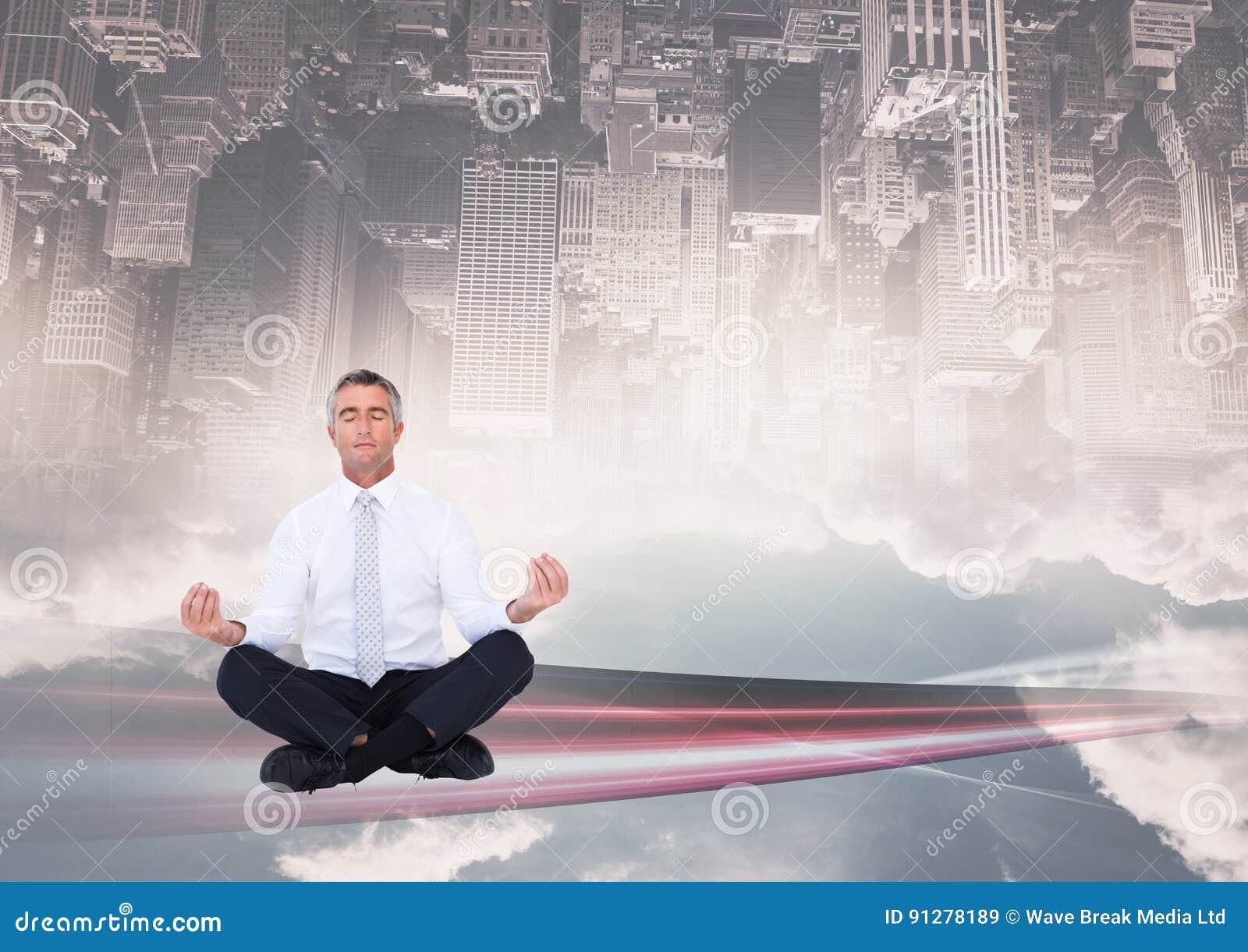 Upp för sida stad ner meditera under staden