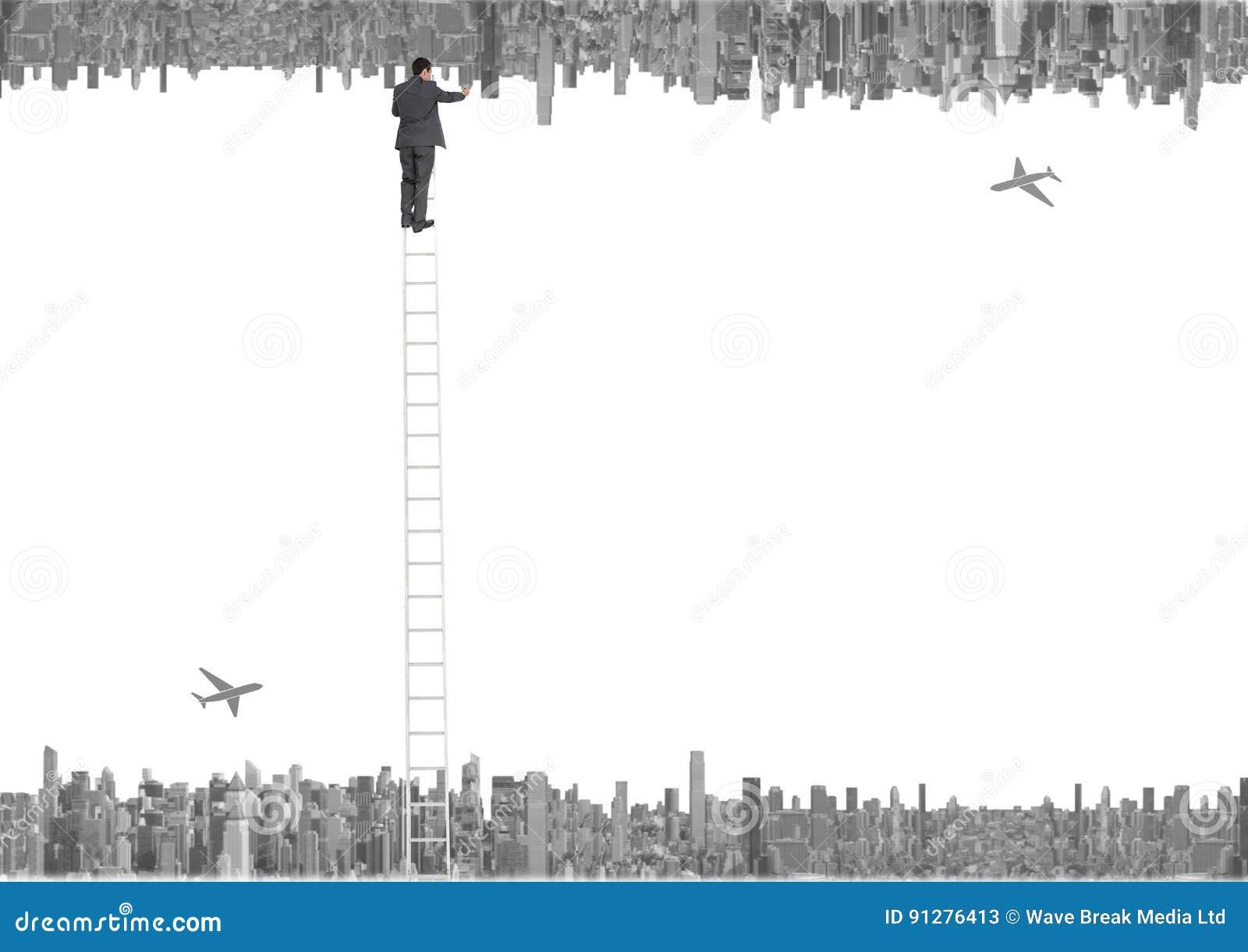 Upp för sida stad ner nivåer och affärsmän med stegen som ner korsar till den övre staden