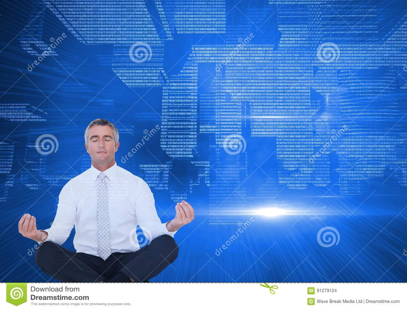 Upp för sida teknologisk stad ner meditera för män