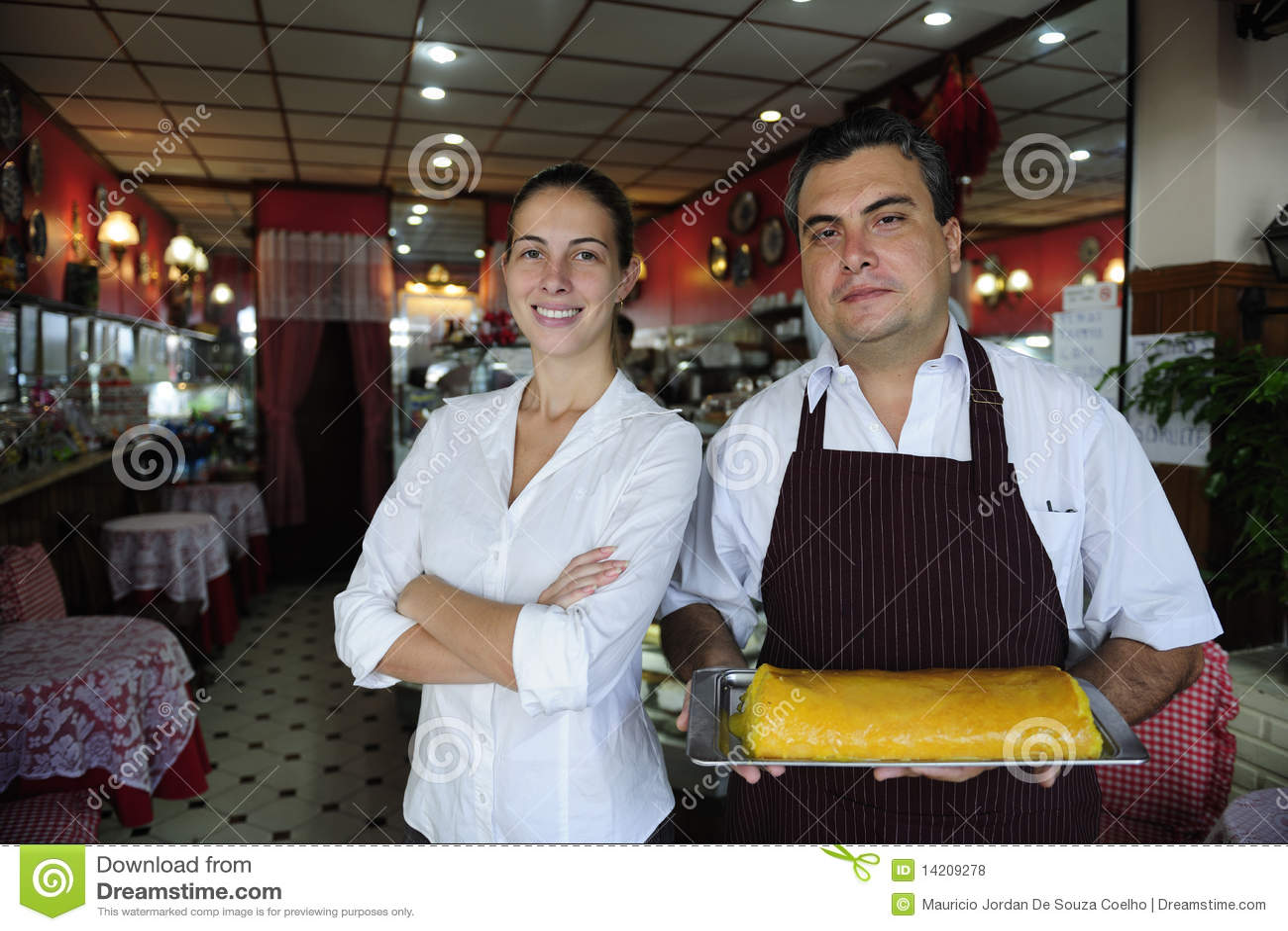 Uppassare för ägare för affärscafekvinnlig liten