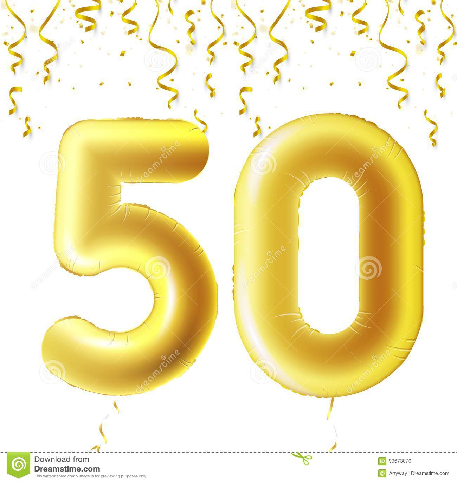 Uppblåsbara guld- bollar med fallande konfettier och hängande band Femtio år symbol 50 Vektorillustration, logo eller