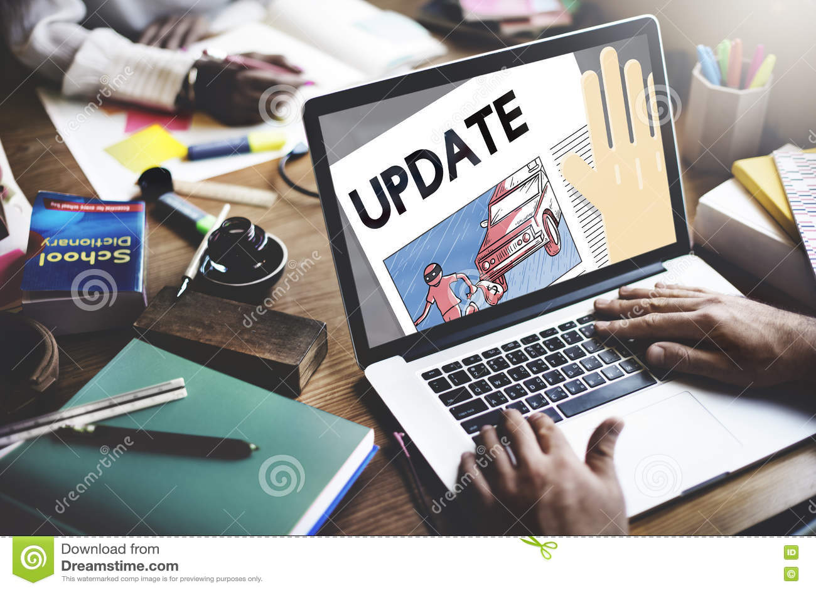 Uppdatering som tenderar begrepp för information om breaking newsrapport
