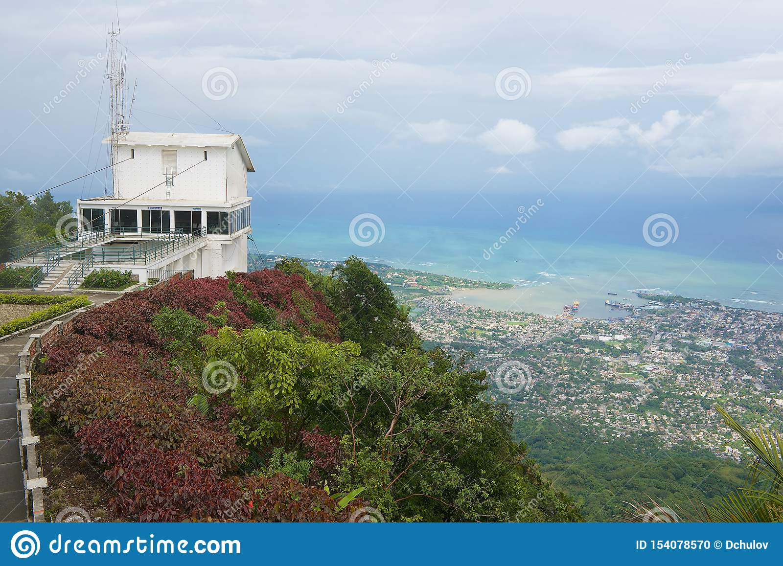 Upper funicular station at the top of Pico Isabel de Torres with a view to the city and ocean in Puerto Plata, Dominican Republic