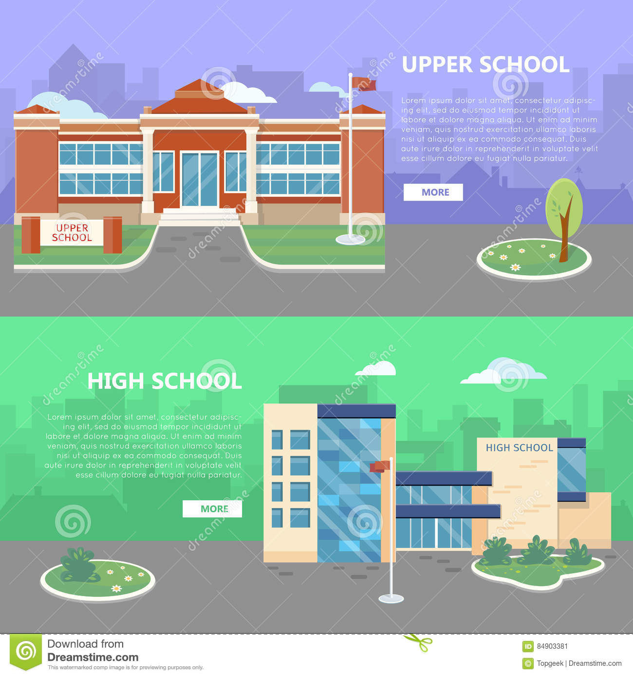 Upper and high school web banners modern and classic school buildings with trees flowerbed flag on yard flat vector illustrations color city silhouettes