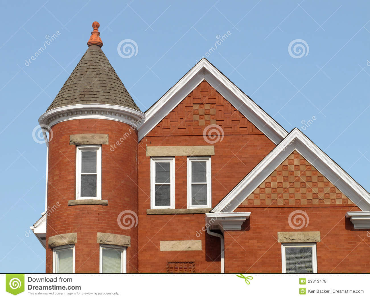 brick house with a corner tower stock photo image 29813478