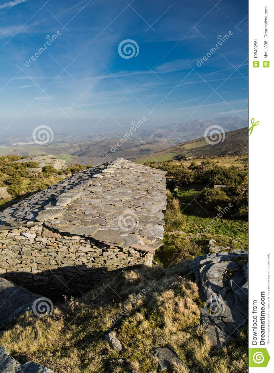 Download Upper View On Ancient Stone Sheep Barn And Atlantic Coastline In Blue Sky Basque