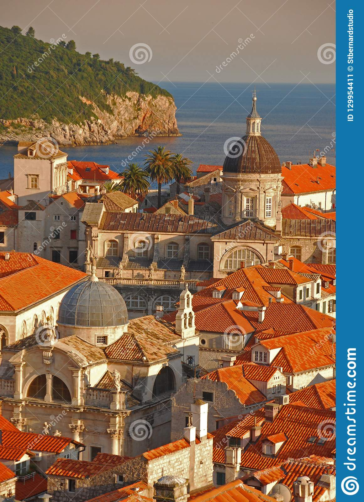 Upper View of Dubrovnik Old Town with Adriatic Sea in the background