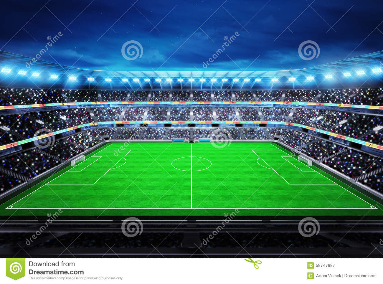 upper view on modern football stadium with fans in the stands stock illustration