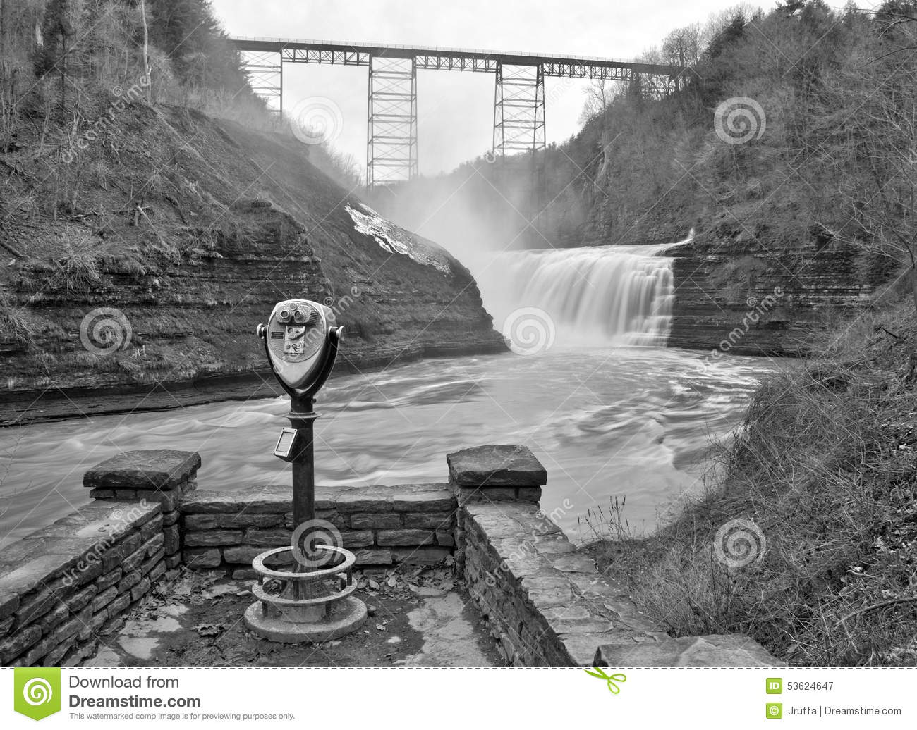 Upper waterfall of the genesee river stock photo image 53624647 for Letchworth swimming pool timetable