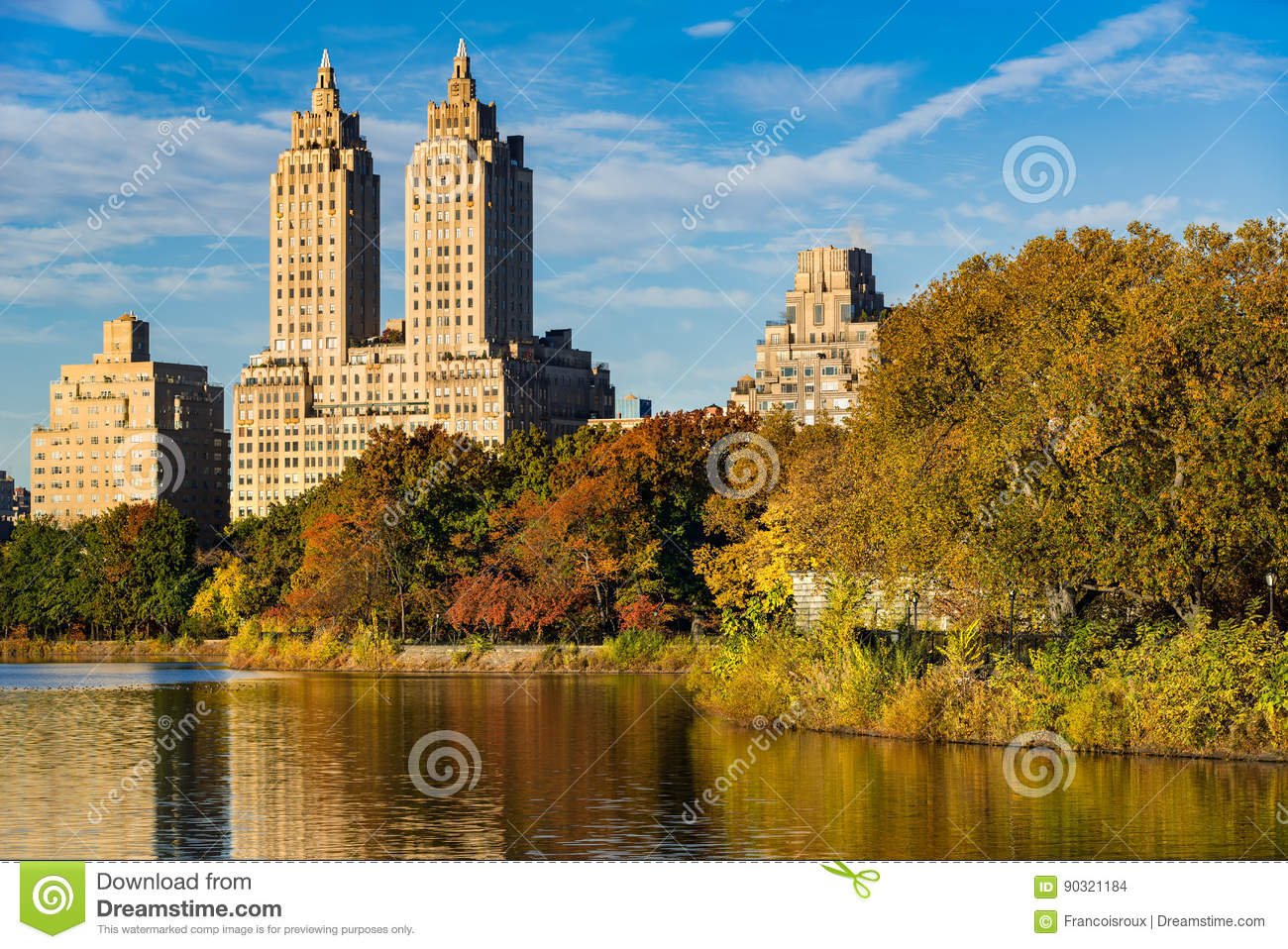 Upper West Side And Central Park In Fall, New York Stock Photo