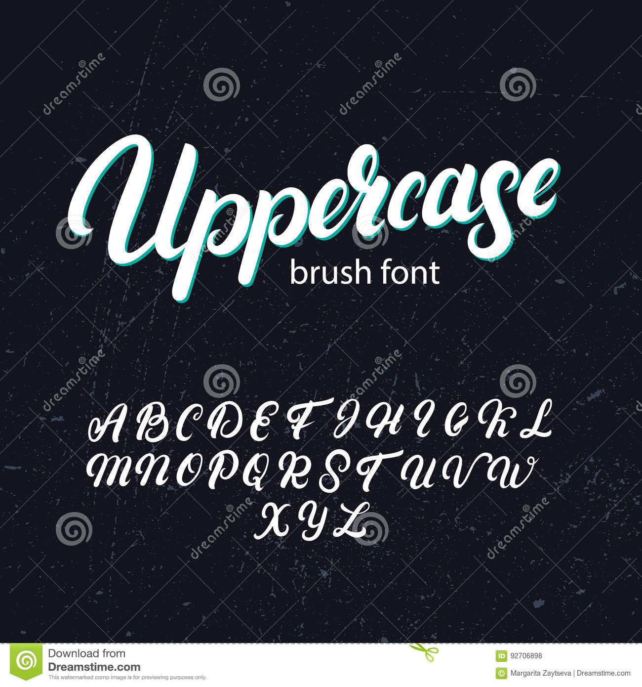 Uppercase Brush Alphabet Hand Written Font Modern Calligraphy On Background Typography For Your Design