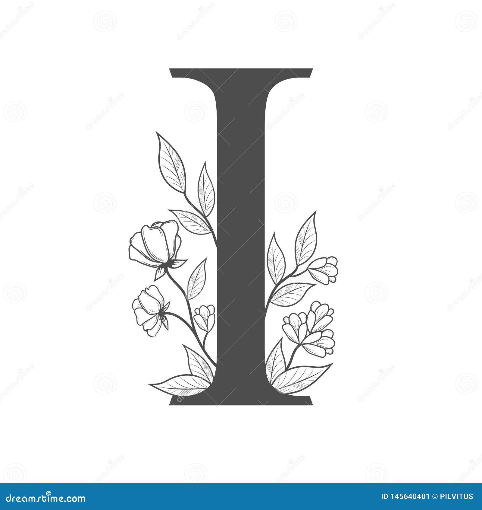 Uppercase list Ja z kwiatami i gałąź Wektor kwitnął monogram lub logo R?ka rysuj?cy poj?cie botaniczny projekt