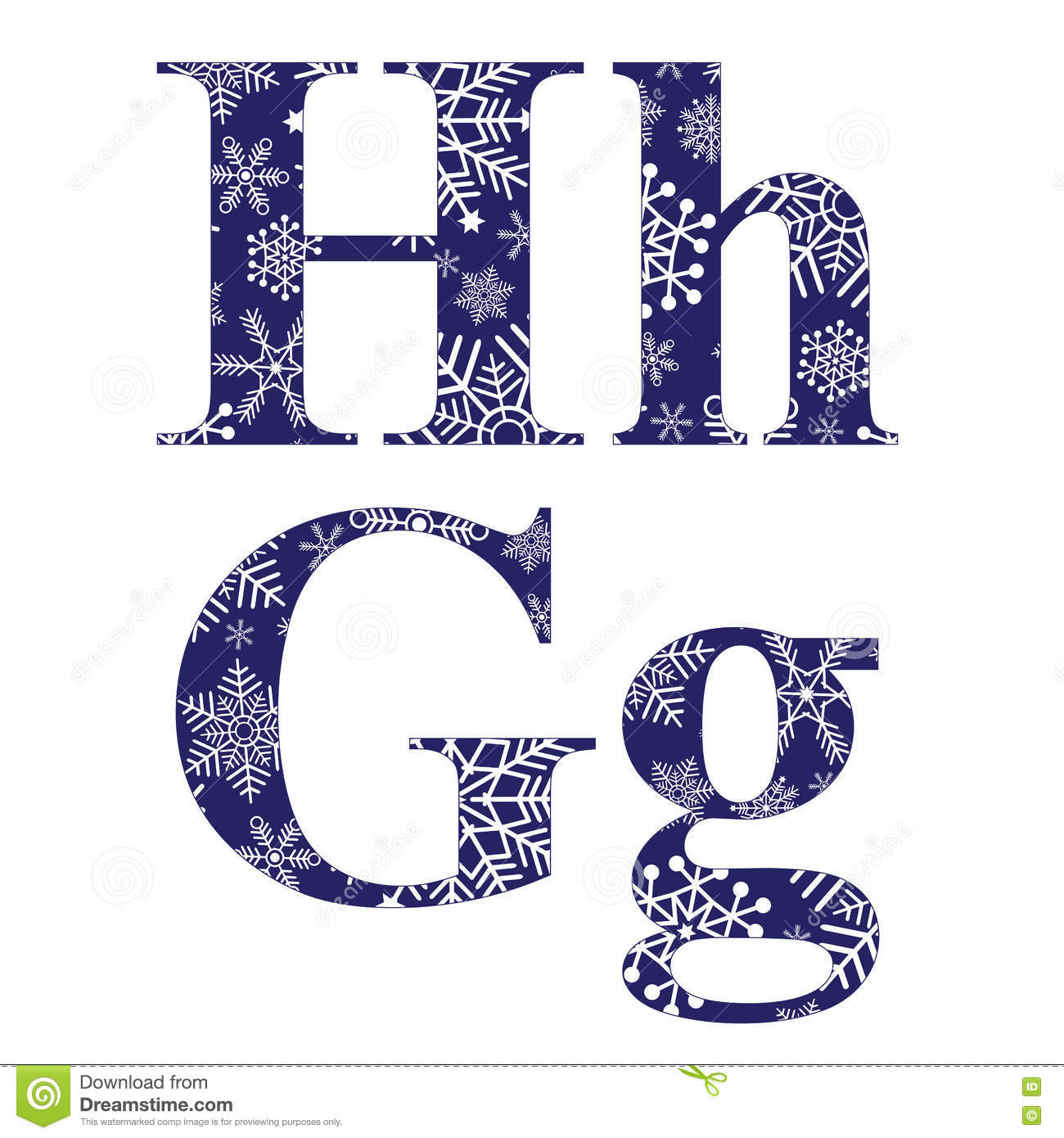 Uppercase And Lowercase Letters H And G Stock Vector Illustration