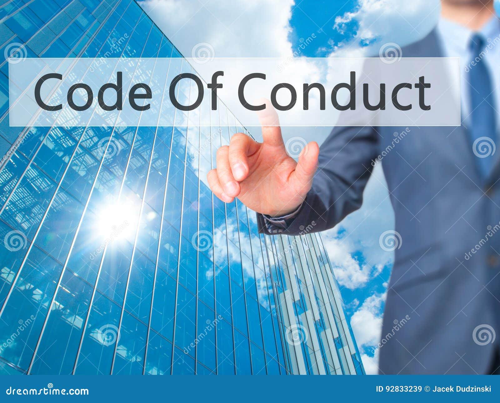 Uppförandekod - knapp för trycka på för affärsmanhand på handlagscre